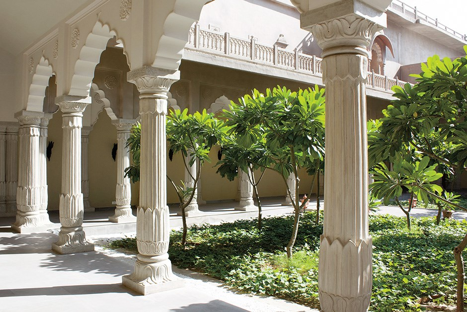 Artisan touches at regal Fairmont Jaipur include handpainted murals, original artwork commissions and stonework worthy of a palace courtyard.