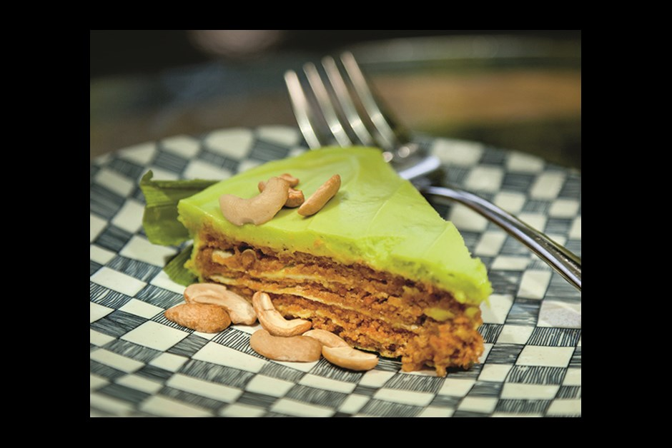 THE AROMATIC PANDAN LEAF PROVIDES COLOR AND FLAVOR FOR PANDAN SANS RIVAL, A SPECIALTY AT THE AYALA MUSEUM CAFÉ