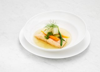 Poached Filet of Loch Duart Salmon, White Wine and Vegetable Nage, Petit Baby Vegetables (gluten/dia