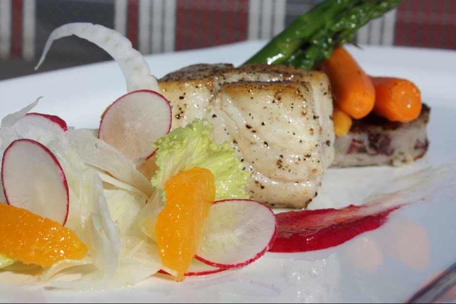 Pan Seared Halibut with Radish-Fennel Salad, Poached Marble Potatoes ...