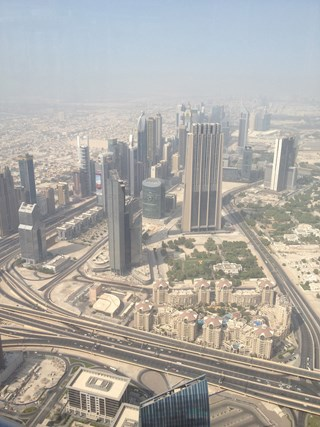 Dubai as a toy town from the tallest building in the world.