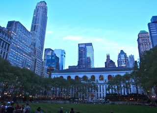 evening stroll in Bryant Park