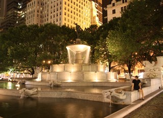 Midnight fountain at The Plaza