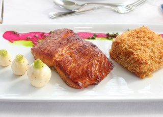 Barbecued Eco Label Atlantic Salmon Fillet, Maple and Tamari Marinade Home Made Tartar Sauce, Crushe