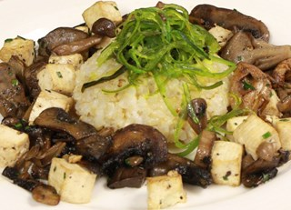 Exotic mushroom stir fry, tofu, organic brown rice and Wakame seaweed