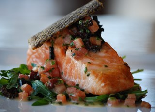Slow Cooked Wild BC Salmon with Sauteed Dandelion Greens, Bacon Truffle Vinaigrette