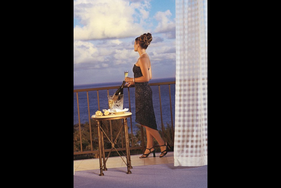 The terrace of a Duplex Suite at Fairmont Southampton in Bermuda