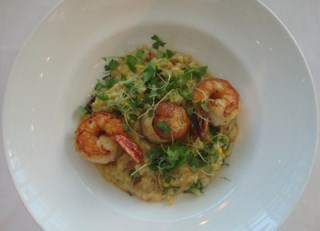 Sautéed Spot Prawns, Scallops, Sweet Corn & Apple Wood Smoked Bacon Risotto