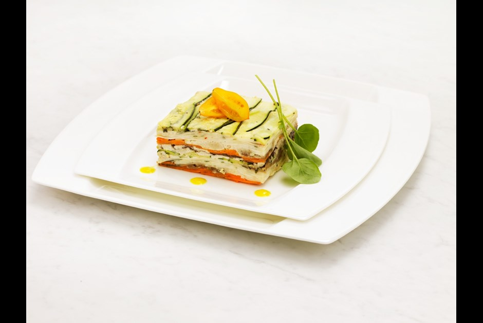 Zucchini, Carrot, Portabella and Cashew Butter Pave (raw)