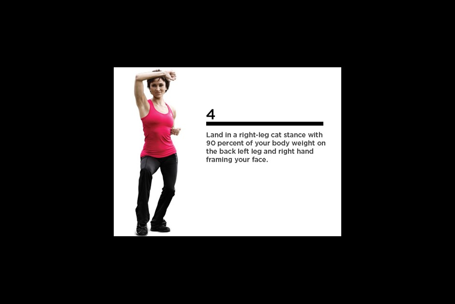 Complete three sets of 12 repetitions each. Works cardio, shoulders, glutes, quads, hamstrings, core