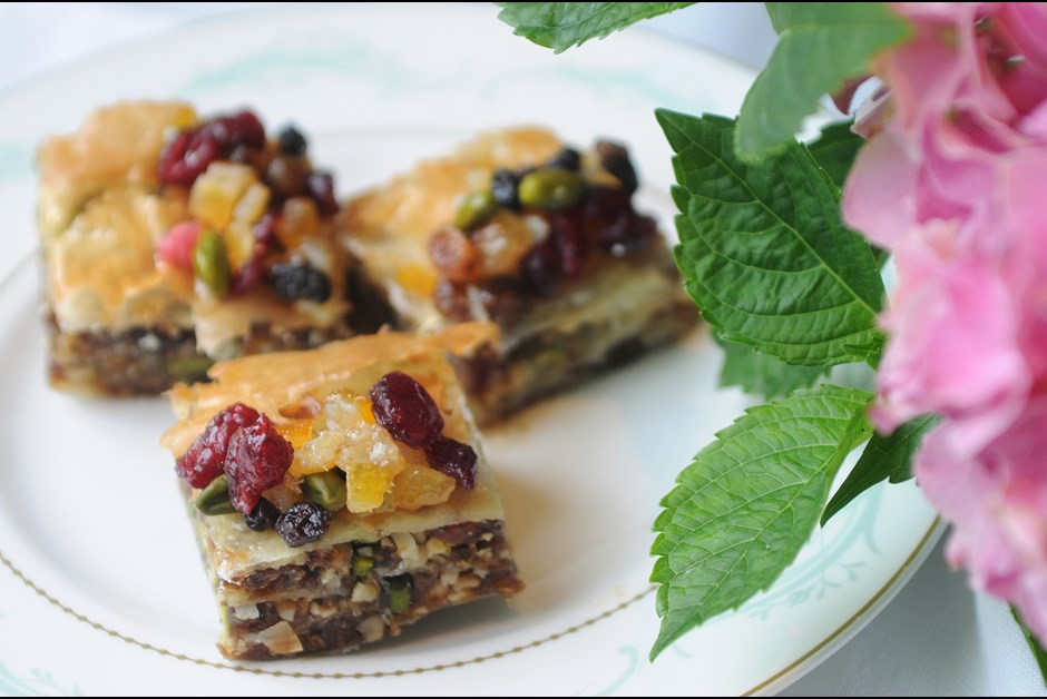Pistachio and Date Baklava recipe for Afternoon Tea