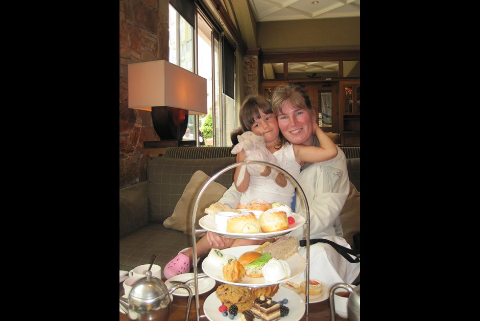 Mother and Daughter experincing Afternoon Tea at the Chateau