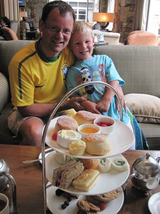 Father and Son enjoying Afternoon Tea at the Chateau
