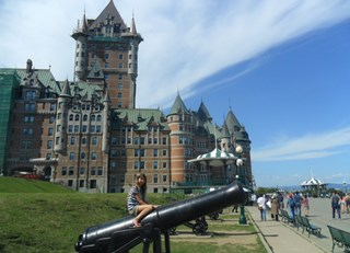 Fairmont Le Château Frontenac - Pretending to protect the castle we stayed in!