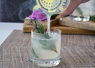 Flaming Rosemary Gimlet