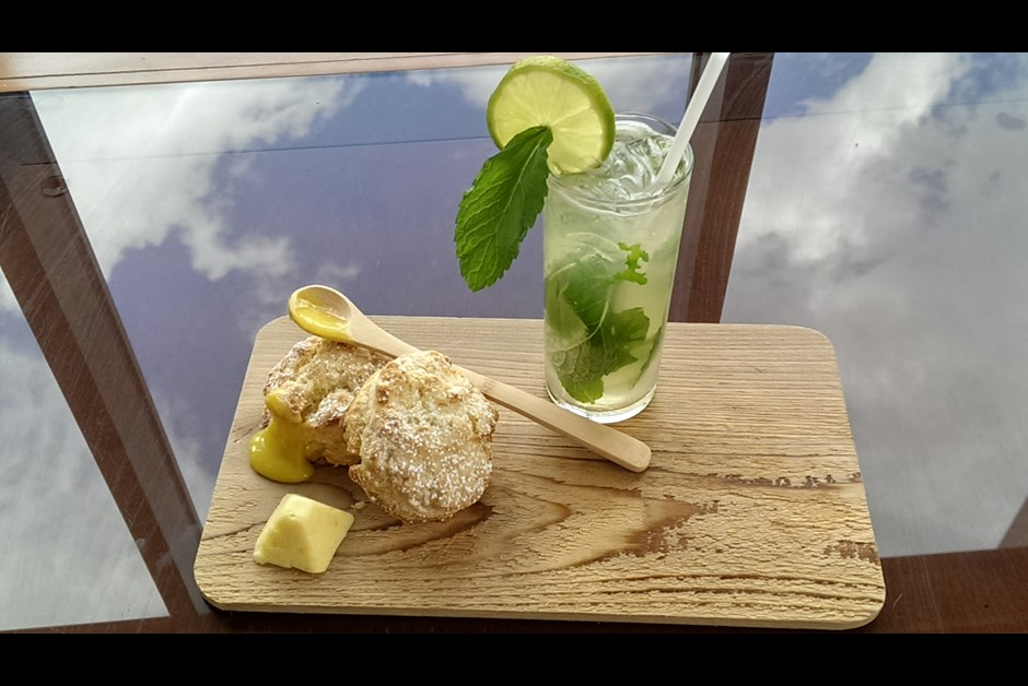 Iced Green Tea Mojito and Lemon Scone