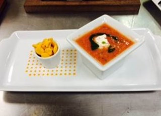 Watermelon Gazpacho with Lobster Salad, Cilantro Pesto and Goldfish Crackers by Angela Bethea at Shuckers