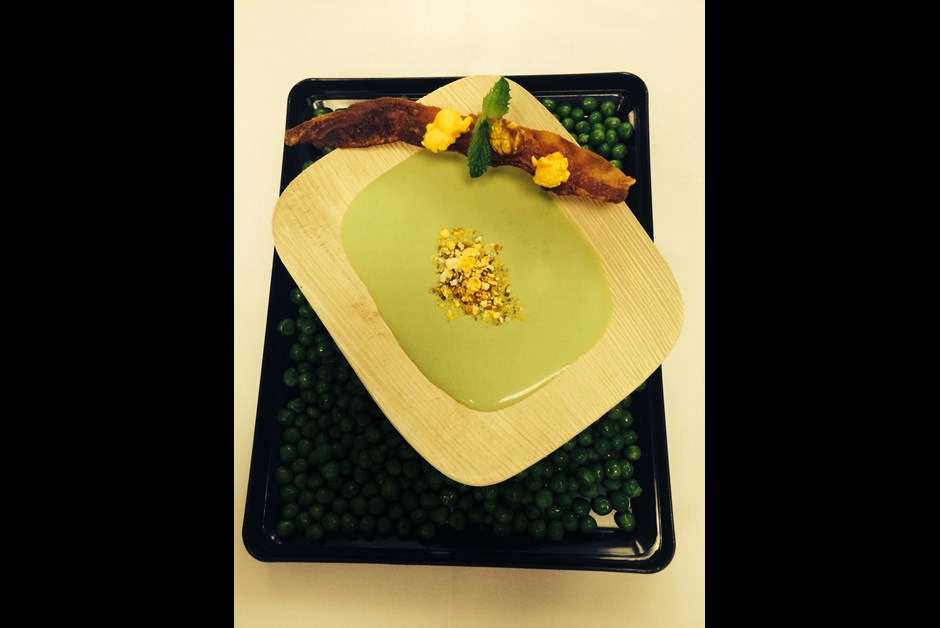 Chilled Spring Green Pea and Smoked Bacon Soup