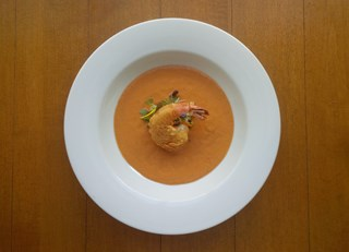 Gazpacho with Quebec Strawberries and Shrimp Tempura