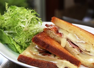 Pear, Bacon, and Brie Grilled Cheese  with Caramelized Onions