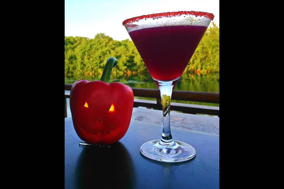 Haunted Halloween Cocktail- Sweet & Spicy Diablo Margaritini