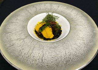 Seaweed Sea Urchin Salad with Squid Ink Vinaigrette
