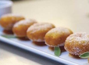 Apple Maple Bacon Beignets, served with Cider caramel sauce