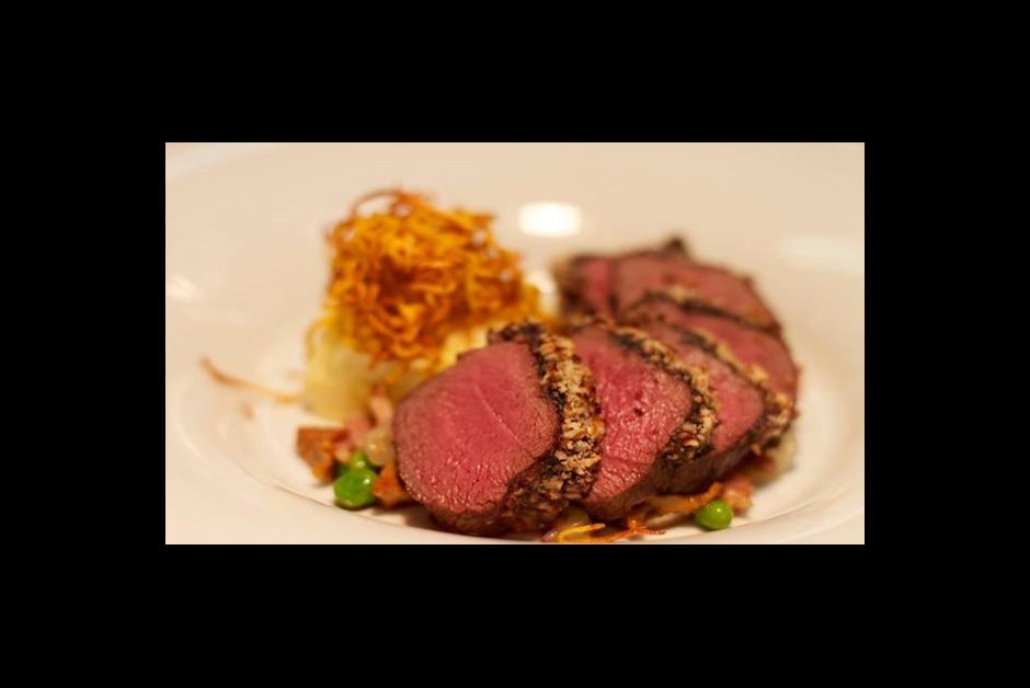 Apple Crusted Venison Loin with Granny Smith Apple & Sweet Potato Mash