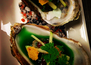 Special oysters, green apple jam  with caviar and salmon eggs