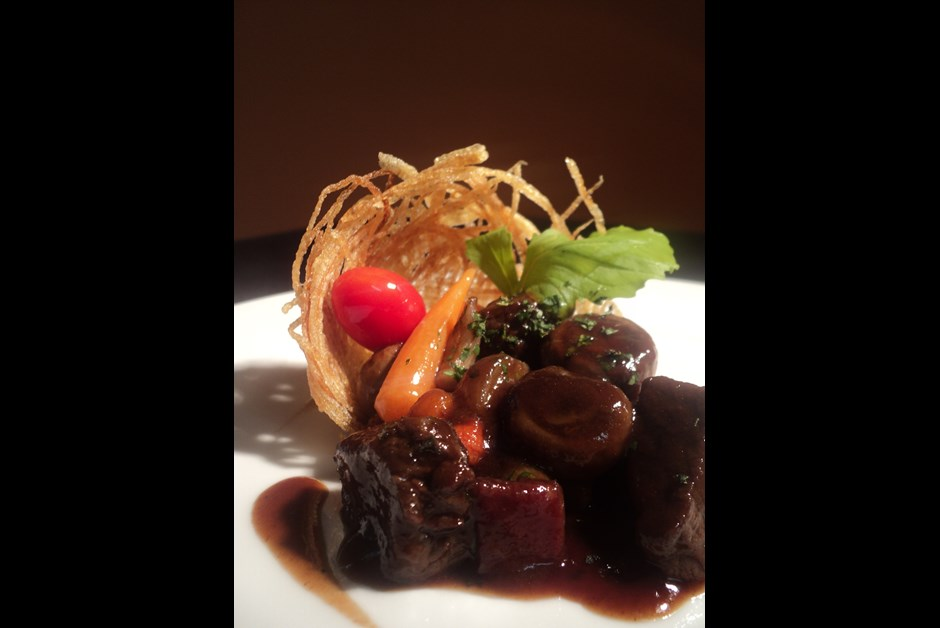 Deconstructed Bison Bourguignon Pie