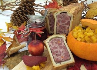 Pâté of  Boileau deer in pastry shell, pumpkin and maple chutney