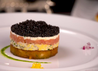Smoked Salmon and Caviar on Potato Pave