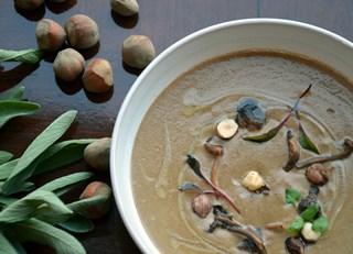 Foraged Mushroom and Aggasiz Hazelnut Soup