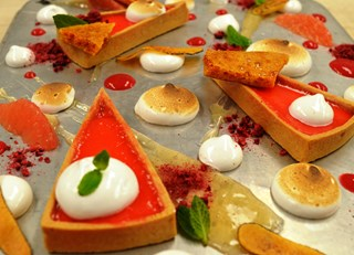 Pink Grapefruit Curd Tart with Meringue, Sponge toffee, and Gin Grapefruit Gel