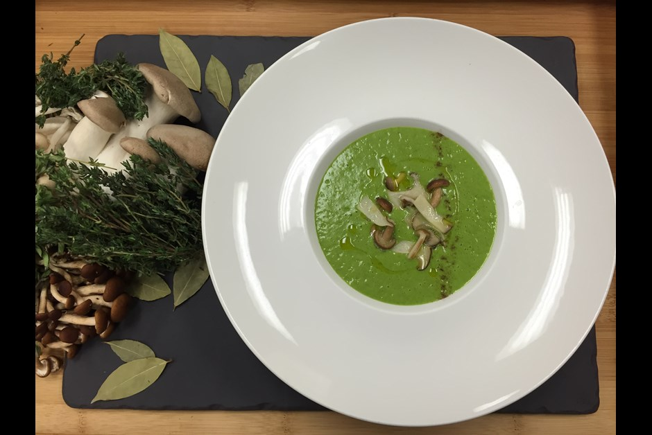 Leek & Potato Soup with Porcini Dust and Forest Mushrooms