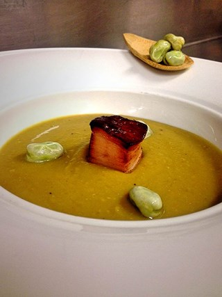 Fava Bean Velouté with Braised Pork Belly