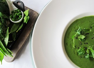 Green Pea & Spinach Soup with Mint