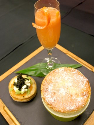 Ka'u Orange Ricotta Breakfast Souffle with Taro Griddle Cakes