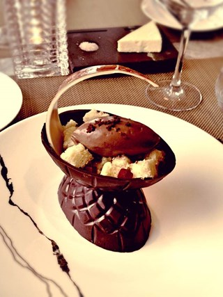 white chocolate and orange flavored Easter egg with maple crémeux