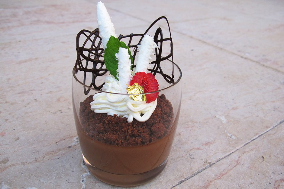 Chocolate Pot De Crème with Almond Chocolate Crumb