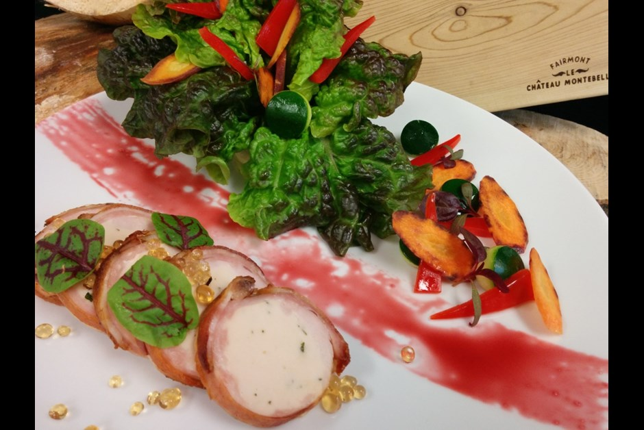 Red spring lettuce with vegetables, rabbit saddle rolled in crispy bacon and maple caviar