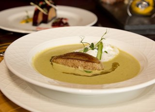 Asparagus cream soup with foie gras and crème fraiche