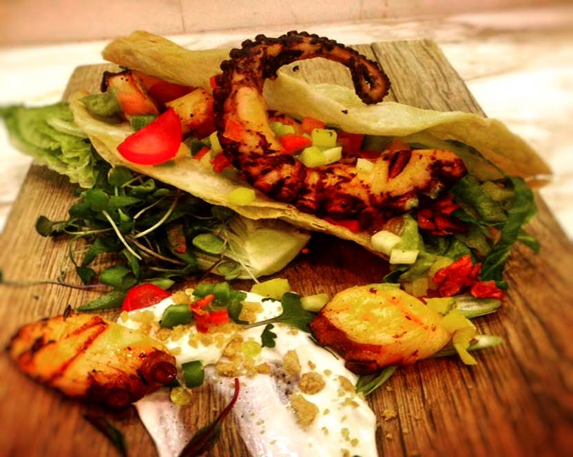 Grilled Octopus And Smoked Chicharon Tacos Fairmont Moments