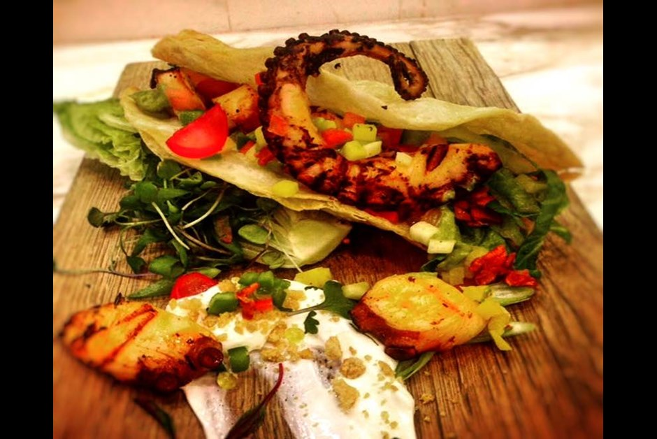 Grilled octopus and smoked chicharon tacos