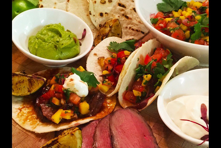Duck tacos with maple syrup and mango salsa