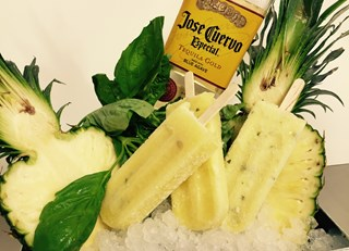Tequila Pineapple Basil Pops