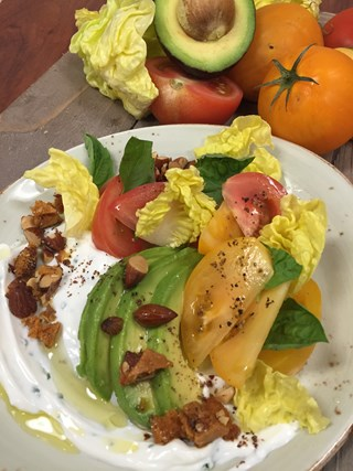 Heirloom Tomato & Little Gem Lettuce Salad with Fresh Ricotta, Monterey Smoked Almond Brittle and California Lemon Oil