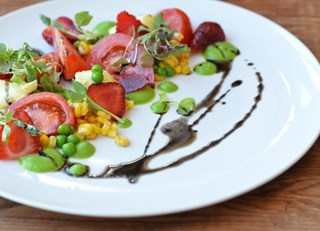 Pickled Ramp, Strawberry and Green Pea Salad