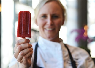 Rooftop Strawberry and Tarragon Popsicles
