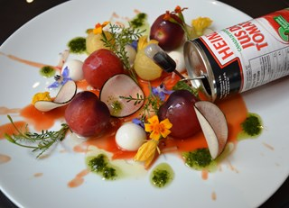 Deconstructed Heirloom Tomato Salad with Goat Cheese Panna Cotta and Agar Tomato Gel